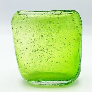 Lime Green Bubbles Handcrafted Oblong Vase